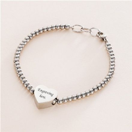 Memorial Bracelet with Engraved Bead